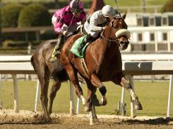 Amazombie and jockey Mike Smith, front, outran Mensa Heat  to win the Grade I, $250,000 Ancient Title Stakes on Saturday.