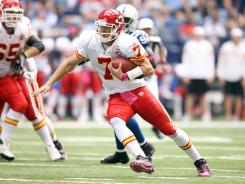 Kansas City Chiefs quarterback Matt Cassel scrambles during their games against the Colts in Indianapolis.