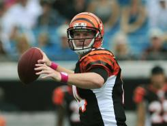 Cincinnati Bengals quarterback Andy Dalton throws a pass during the first half of their game against the Jaguars in Jacksonville.