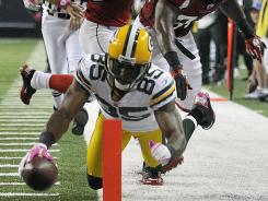 This second-half touchdown by Packers wide receiver Greg Jennings gave Green Bay a 22-14 lead early in the fourth quarter.