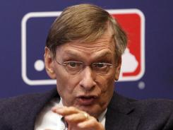 MLB commissioner Bud Selig  addressed the media before Game 2 of the NL Championship Series in Milwaukee.