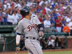 Tigers' Victor Martinez pops out to end the top of the ninth inning.