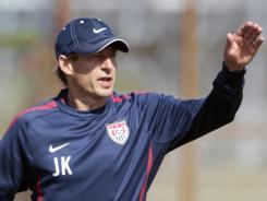 U.S. men's soccer  coach Jurgen Klinsmann gives instructions during practice in Fort Lauderdale, Fla., on Oct. 4.
