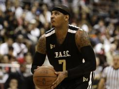 "Carmelo Anthony, shown here during the South Florida All Star Classic on Oct. 8, says, ""I don't think I did anything wrong to the Denver fans."""