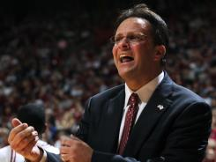 IU coach Tom Crean pleads with an official after an offensive foul was called on the Hoosiers during a game against Iowa on Sunday, Jan. 24, 2010, at Assembly Hall in Bloomington, Ind.