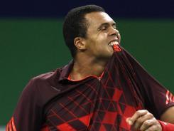 Jo-Wilfried Tsonga reacts during his loss at the Shanghai Masters to Kei Nishikori.