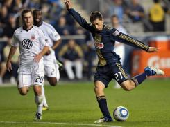 Michael Farfan of the Philadelphia Union shoots and scores during the game against D.C. United at PPL Park on Sept. 29 in Chester, Penn. The Union won 3-2.