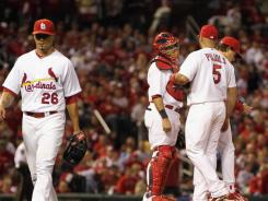 Kyle Lohse lasted 4  innings for the Cardinals on Thursday, allowing three runs before getting the hook and loss.