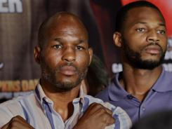 Chad Dawson, right, with Bernard Hopkins, has stayed out of the spotlight during his career, but hopes a victory against WBC light heavyweight champion Hopkins will propel him to the stardom most predicted for him a few years ago.
