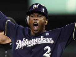Nyjer Morgan celebrates his double in the fifth inning of the Milwaukee Brewers 4-2 win over the St. Louis Cardinals in Game 4 of the NLCS.