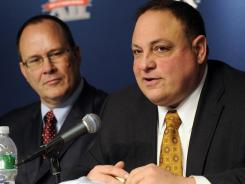 Big East Commissioner John Marinatto speaks at a press conference at Yankee Stadium in the Bronx borough of New York.