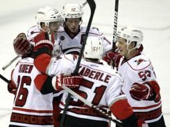 Jeff Skinner (53) and the Hurricanes celebrate his go-ahead goal that gave Carolina its second consecutive win.