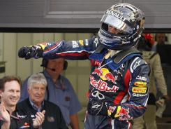 Sebastian Vettel celebrates his victory Sunday at the Korean Grand Prix.