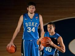 Left to Right: Duke forward Ryan Kelly and guard Seth Curry at Cameron Indoor Stadium.