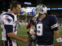 Patriots quarterback Tom Brady, left, shakes hands with Cowboys quarterback Tony Romo (9) after New England's 20-16 win Sunday. The game gave Fox its highest NFL regular-season rating in that late-afternoon time slot since 2002.