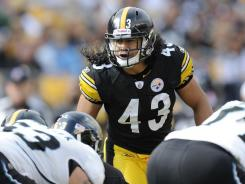 Pittsburgh Steelers safety Troy Polamalu lines up against the Jacksonville Jaguars during their game in Pittsburgh.