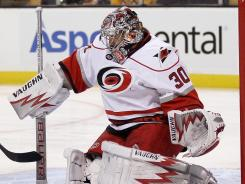 Cam Ward saved 33 of 34 shot attempts to lead the Hurricanes past the Bruins for the second time in under a week.