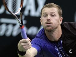 Alex Bogomolov Jr. of the USA defeats Dusan Lajovic of Serbiathe Kremlin Cup in Moscow.