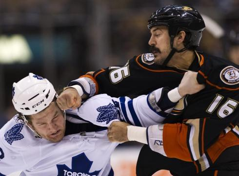 Buffalo sabres brian flynn fights toronto maple leafs phil kessel media by