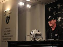 Former Bengals quarterback Carson Palmer is introduced after signing with the Oakland Raiders on Oct. 18.