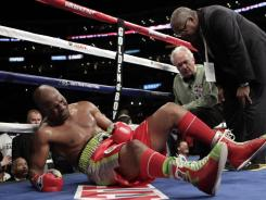 Bernard Hopkins dislocated his left shoulder after being thrown down by Chad Dawson last Saturday night at the Staples Center.  After referee Pat Russell awarded Dawson the TKO victory, the WBC on Thursday awarded the belt back to Hopkins.