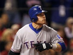 Rangers' Josh Hamilton was 0-for-7 before hitting a game-tying sacrifice fly in the ninth inning of Game 2.