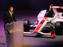 IndyCar CEO Randy Bernard speaks during the memorial for Dan Wheldon on Sunday. Drivers are expected to meet with Bernard on Monday to discuss safety in the wake of Wheldon's death.