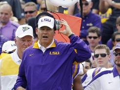 Coach Les Miles will lead his LSU Tigers into what may be a BCS title game elimination tilt against Alabama on Nov. 5. The game will be broadcast in prime time on CBS.