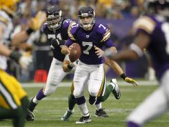 ORG XMIT: MPD1 Minnesota Vikings quarterback Christian Ponder came up short in his first NFL start.