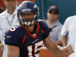 Denver Broncos quarterback Tim Tebow wins his first start of the season.