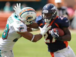 Denver Broncos running back Knowshon Moreno will start while Willis McGahee is out with a broken hand.