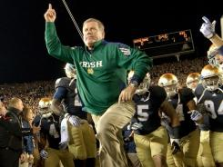 Even a conference home for Notre Dame:  Coach Brian Kelly and the Independent Fighting Irish would join the Big Ten in our theoretical conference alignment creating the new Football Playoff Subdivision.