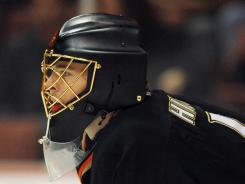 Ducks goalie Jonas Hiller usually wears a plain black mask during games.