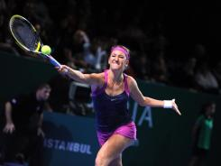 Victoria Azarenka of Belarus chases down a forehand during her victory Wednesday against Samantha Stosur of Australia.