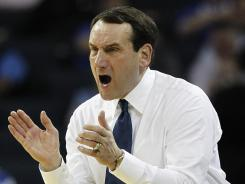 Duke coach Mike Krzyzewski is two wins behind his coach, Bob Knight, for the most in Division I men's basketball history.