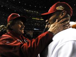Manager Tony La Russa, left, and star first baseman Albert Pujols celebrated their second World Series title together in St. Louis.