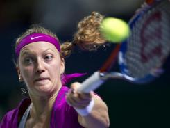 Petra Kvitova smacks a forehand during her victory Saturday against Samantha Stosur.