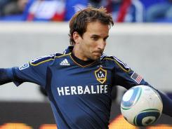 Los Angeles Galaxy forward Mike Magee notched the lone goal against the New York Red Bulls in the first leg of their playoff matchup.