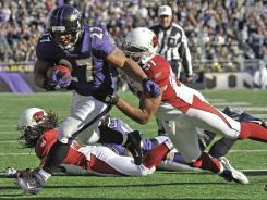 Ravens RB Ray Rice scored a career-high three TDs in Baltimore's comeback vs. the Cardinals.