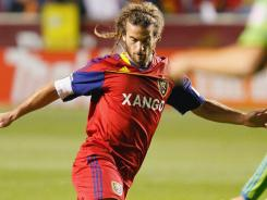 Real Salt Lake midfielder Kyle Beckerman controls the ball against the Seattle Sounders FC during the first half at Rio Tinto Stadium. RSL took a commanding 3-0 lead in their Western Conference semifinals series.