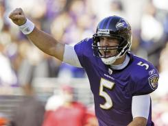 Joe Flacco had his third 300-yard game of the season in rallying the Ravens past the Cardinals, who led 24-6 at halftime.