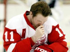 Detroit Red Wings winger Dan Cleary, shown before a preseason game, has no goals this season.