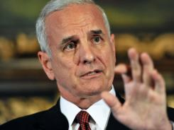 Minnesota Gov. Mark Dayton speaks to reporters following a meeting with Minnesota Vikings owner Zygi Wilf regarding public financing for a new team stadium on Oct. 19.