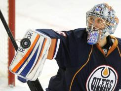 Edmonton Oilers goalie Nikolai Khabibulin, 38, has allowed eight goals in seven games.