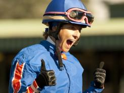 Chantal Sutherland celebrates aboard Game On Dude after their victory in the Grade I, $250,000 Goodwood Stakes on Oct. 1.