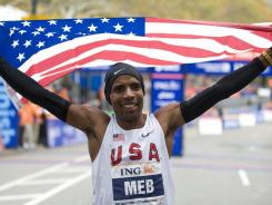Meb Keflezighi of the U.S. celebrates his victory in the New York City Marathon on Nov. 1, 2009.