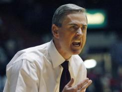In this Jan. 13, 2011 photograph Mississippi State basketball coach Rick Stansbury calls out to his players during their NCAA college basketball game against Mississippi in Oxford, Miss.