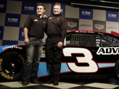 Austin Dillon, left, and Richard Childress pose Friday at Texas Motor Speedway with the No. 3 car Dillon will drive full-time in the Nationwide Series in 2012.
