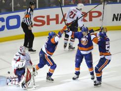 P.A. Parenteau's goal with 1:46 remaining broke a tie and helped the Islander snap a 6-game skid against the Capitals.