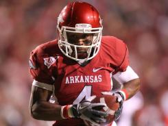 Arkansas wide receiver Jarius Wright rushes for a touchdown against the No. 10 South Carolina Gamecocks during the No. 8 Razorbacks 44-28 win.